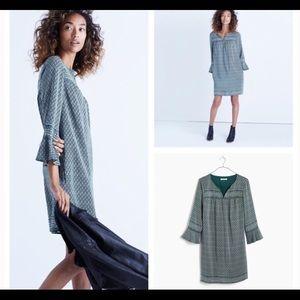 Madewell Starland Silk Bell Sleeve Dress XL ( b15)